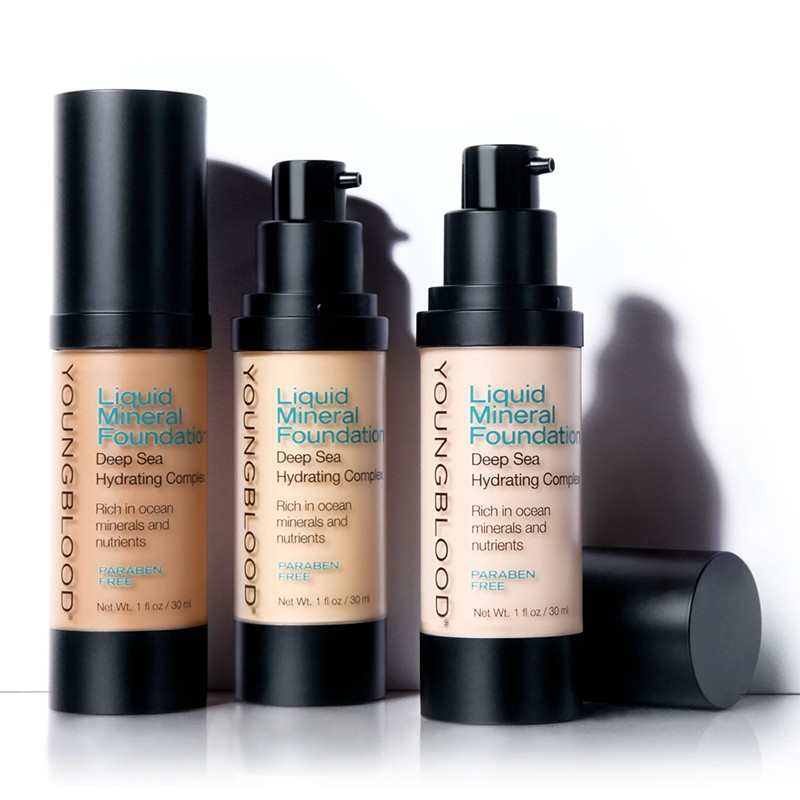 Youngblood liquid mineral foundation for Active skin salon
